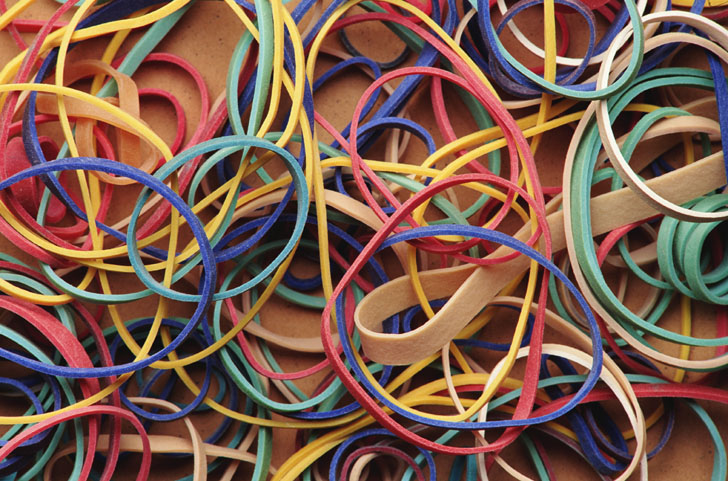 (Also called rubber bands)